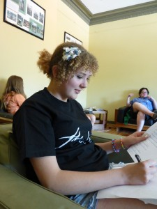 Shaina working on lyrics